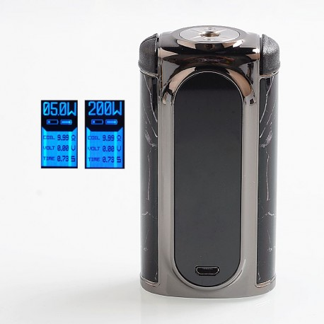 Authentic Voopoo Vmate 200W TC VW Variable Wattage Box Mod - P-Rock Black, Zinc Alloy, 2 x 18650