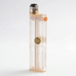 Vertex Style Mechanical Box Mod + RDA Kit - Transparent, Resin + Brass + Stainless Steel, 4 x 18650