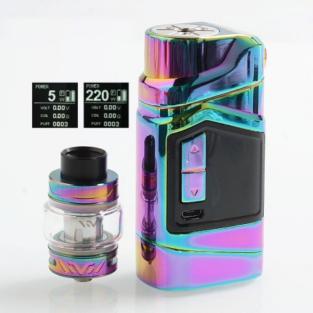 Authentic HAVA Goliath Beetles 220W TC VW Mod + Vtank Kit - Rainbow, 5~220W, 2 x 18650, 5ml, 24mm Diameter