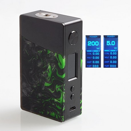 Authentic GeekVape Nova 200W TC VW Variable Wattage Box Mod - Black + Emerald Resin, 2 x 18650