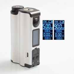 Authentic Dovpo Topside 90W TC VW Variable Wattage Squonk Box Mod - Silver, 10ml, 1 x 18650 / 21700