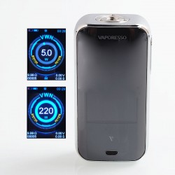 Authentic Vaporesso Luxe 220W TC VW Variable Wattage Box Mod - Silver, 5~220W, 2 x 18650