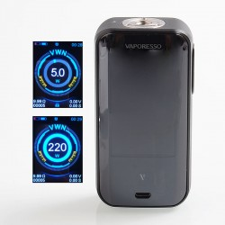 Authentic Vaporesso Luxe 220W TC VW Variable Wattage Box Mod - Black, 5~220W, 2 x 18650