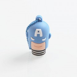 Authentic Vapesoon Captain America 810 Drip Tip w/ Cap for TFV8 / TFV12 / Goon / Reload - Blue, Resin + SS + Silicone, 35mm