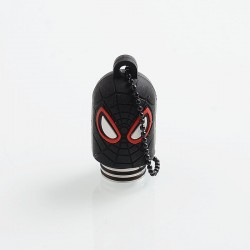 Authentic Vapesoon Spider Man 810 Drip Tip w/ Cap for TFV8 / TFV12 Tank / Goon / Reload RDA - Black, Resin + SS + Silicone, 35mm