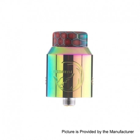 Authentic Hellvape Rebirth RDA Rebuildable Dripping Atomizer w/ BF Pin - Rainbow, Stainless Steel, 24mm Diameter