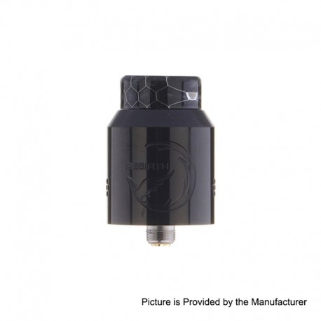 Authentic Hellvape Rebirth RDA Rebuildable Dripping Atomizer w/ BF Pin - Piano Full Black, Stainless Steel, 24mm Diameter