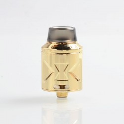Authentic Hugsvape Piper RDA Rebuildable Dripping Atomizer w/ BF Pin - Gold, Stainless Steel, 24mm Diameter