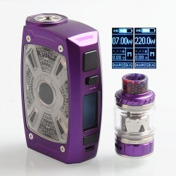 Authentic Tesla XT Mini 220W TC VW Variable Wattage Mod + Tallica Mini Tank - Purple, Zinc Alloy, 7~220W, 2 x 18650, 4ml, 25mm