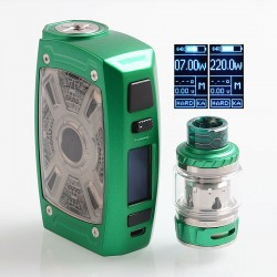 Authentic Tesla XT Mini 220W TC VW Variable Wattage Mod + Tallica Mini Tank - Green, Zinc Alloy, 7~220W, 2 x 18650, 4ml, 25mm