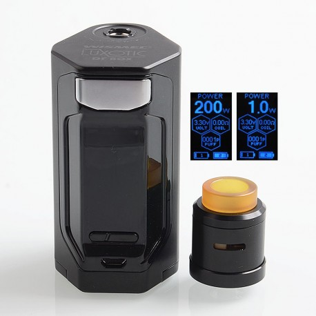 Authentic Wismec Luxotic DF 200W TC VW Squonk Box Mod + Guillotine V2 BF RDA Kit - Black, 7ml, 1~200W, 2 x 18650, 24mm
