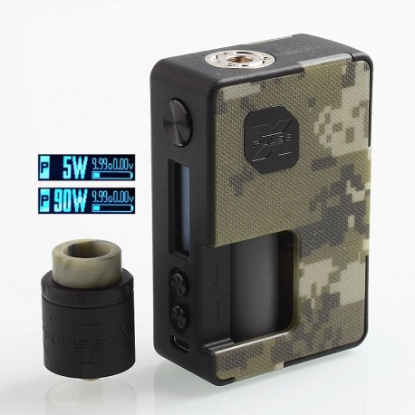 Authentic Vandy Vape Pulse X 90W TC VW Squonk Box Mod + Pulse X BF RDA Kit - Camouflage, 5~90W, 1 x 18650 / 20700 / 21700