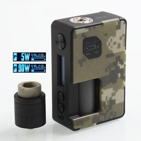 Authentic Vandy Vape Pulse X 90W TC VW Squonk Box Mod + Pulse X BF RDA Kit - Camouflage, 5~90W, 1 x 18650 / 20700 / 21700