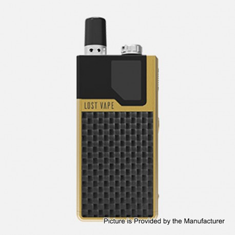 Authentic Lost Vape Orion DNA GO 40W 950mAh All-in-one Starter Kit - Gold Textured Carbon Fiber, 2ml, 0.25 Ohm / 0.5 Ohm