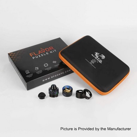Authentic RFGVape 2+1 RDA Rebuildable Dripping Atomizer w/ BF Pin Flavor Puzzle Kit - Black + Black Resin, 24.8mm Diameter