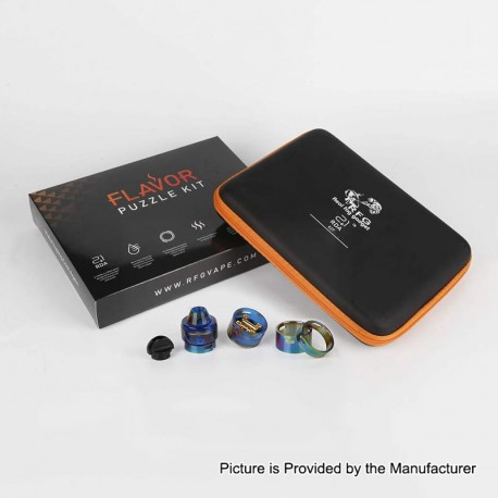 Authentic RFGVape 2+1 RDA Rebuildable Dripping Atomizer w/ BF Pin Flavor Puzzle Kit - Rainbow + Blue Resin, 24.8mm Diameter