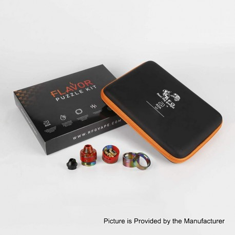 Authentic RFGVape 2+1 RDA Rebuildable Dripping Atomizer w/ BF Pin Flavor Puzzle Kit - Rainbow + Red Resin, 24.8mm Diameter