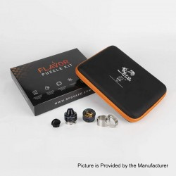 Authentic RFGVape 2+1 RDA Rebuildable Dripping Atomizer w/ BF Pin Flavor Puzzle Kit - Stainless + Black Resin, 24.8mm Diameter