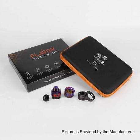 Authentic RFGVape 2+1 RDA Rebuildable Dripping Atomizer w/ BF Pin Flavor Puzzle Kit - Black + Purple Resin, 24.8mm Diameter