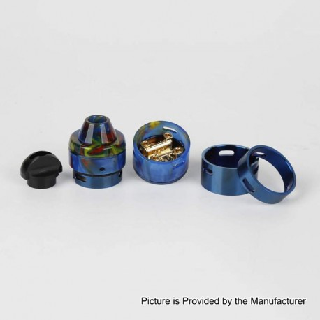 Authentic RFGVape 2+1 RDA Rebuildable Dripping Atomizer w/ BF Pin - Blue + Blue Resin, 24.8mm Diameter