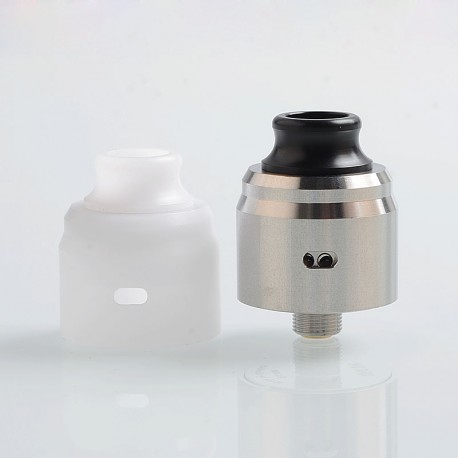 ShenRay Typhoon BTD Wave Style RDA Rebuildable Dripping Atomizer w/ BF Pin + POM Cap - Silver, 316 Stainless Steel, 22mm Dia.