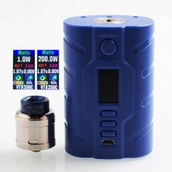 Authentic VapeCige VTX200 200W TC VW Squonk Box Mod + RDA Kit - Blue, PC + Stainless Steel, 7ml, 2 x 18650