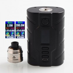 Authentic VapeCige VTX200 200W TC VW Squonk Box Mod + RDA Kit - Black, PC + Stainless Steel, 7ml, 2 x 18650