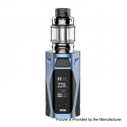 Authentic Rincoe Manto X 228W TC VW Box Mod + Metis Mix Tank Kit - Blue, Zinc Alloy, 1~228W, 2 x 18650, 6ml, 25mm