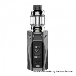 Authentic Rincoe Manto X 228W TC VW Box Mod + Metis Mix Tank Kit - Grey, Zinc Alloy, 1~228W, 2 x 18650, 6ml, 25mm
