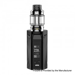 Authentic Rincoe Manto X 228W TC VW Box Mod + Metis Mix Tank Kit - Black, Zinc Alloy, 1~228W, 2 x 18650, 6ml, 25mm