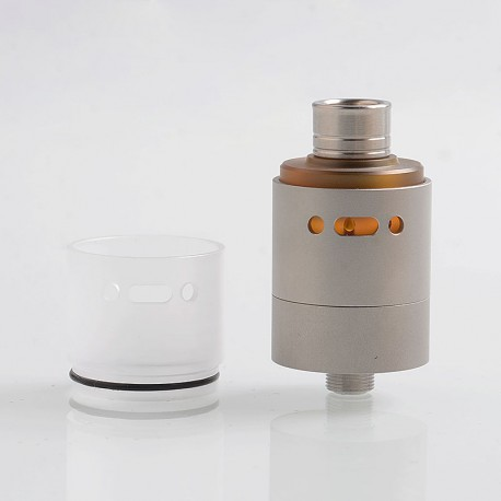 YFTK L'Hypersonic Style RDTA Rebuildable Dripping Tank Atomizer w/ BF Pin - Silver, 316 Stainless Steel, 22mm Diameter