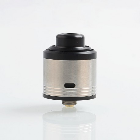 Authentic Gas Mods G.R.1 GR1 Pro RDA Rebuildable Dripping Atomizer w/ BF Pin - Silver + Black, Stainless Steel, 24mm Diameter