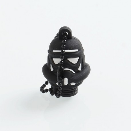 Authentic Vapesoon Stormtrooper 510 Drip Tip w/ Cap for RDA / RTA / Sub Ohm Tank Atomizer - Black, POM + Silicone