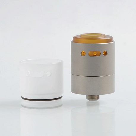 Vapeasy L'Hypersonic Style RDTA Rebuildable Dripping Tank Atomizer w/ BF Pin - Silver, 316 Stainless Steel, 22mm Diameter