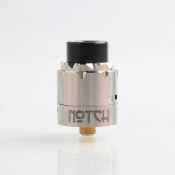 Authentic Advken Notch RDA Rebuildable Dripping Atomizer w/ BF Pin - Silver, Stainless Steel, 24mm Diameter