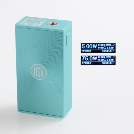 Authentic USV L USV-L 75W TC VW Variable Wattage Box Mod - Disco Tiffany, Zinc Alloy, 1~75W, 1 x 18650, VO 75 Chip