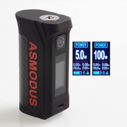 Authentic Asmodus Amighty 100W Touch Screen TC VW Variable Wattage Box Mod - Black Red, 5~100W, 1 x 18650 / 21700 / 20700