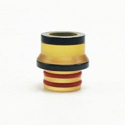 Coppervape Replacement 510 Drip Tip for Hussar Project X Style RTA - Yellow + Black, PEI + 316 Stainless Steel
