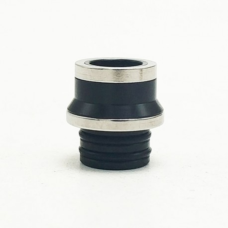 Coppervape Replacement 510 Drip Tip for Hussar Project X Style RTA - Black + Silver, POM + 316 Stainless Steel