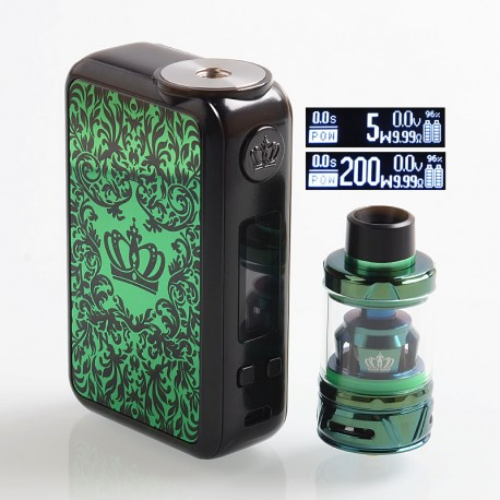 Authentic Uwell Crown 4 IV 200W TC VW Variable Wattage Box Mod + Crown 4 IV Tank Kit - Green, 5~200W, 2 x 18650, 6ml