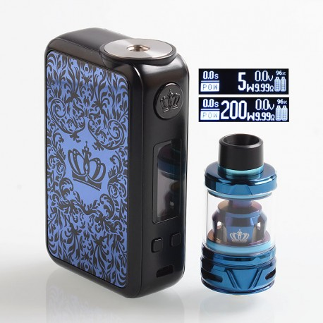Authentic Uwell Crown 4 IV 200W TC VW Variable Wattage Box Mod + Crown 4 IV Tank Kit - Blue, 5~200W, 2 x 18650, 6ml