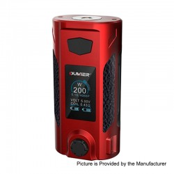 Authentic Oumier Rudder 200W TC VW Variable Wattage Box Mod - Red, 5~200W, 2 x 18650