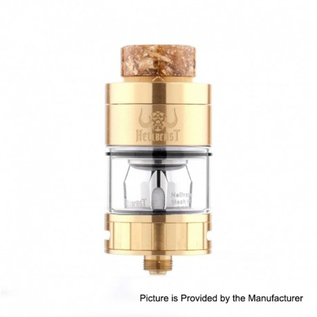 Authentic Hellvape Hellbeast Sub Ohm Tank Clearomizer - Gold, Stainless Steel, 4.3ml, 24mm Diameter
