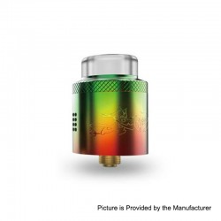 Authentic Acevape Bomb Cat RDA Rebuildable Dripping Atomizer w/ BF Pin - Rainbow, Stainless Steel, 24mm Diameter