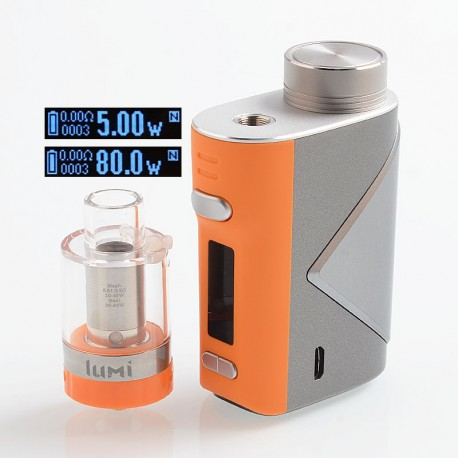 Authentic GeekVape Lucid 80W TC VW Variable Wattage Box Mod + Lumi Tank Kit - Orange, 5~80W, 1 x 18650, 0.3 Ohm, 4ml