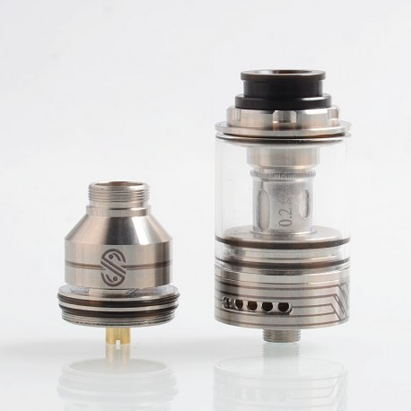 Authentic UltimaVape Scarlet RTA Rebuildable Tank Atomizer / Sub Ohm Tank Clearomizer - Silver, 0.2 Ohm, 2.5ml, 24mm Diameter