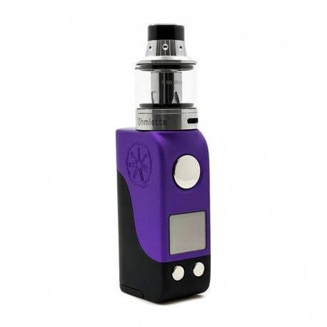 Authentic Asmodus Mini Minikin 50W TC VW Box Mod + Ohmlette Tank Kit - Purple Black, 5~50W, 1 x 18500, 0.4 Ohm / 0.8 Ohm