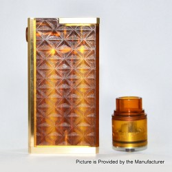 SOB S3 Style Mechanical Box Mod + Outlaw Style RDA Kit - Yellow, PEI + Brass + Stainless Steel, 2 x 18650