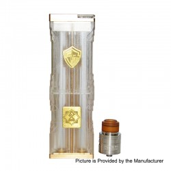 Knight Style Mechanical Box Mod + Fuel Style RDA Kit - Transparent, PC + Brass + Stainless Steel, 4 x 18650