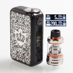 Authentic Uwell Crown 4 IV 200W TC VW Variable Wattage Box Mod + Crown 4 IV Tank Kit - Silver, 5~200W, 2 x 18650, 6ml
